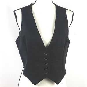 The Limited Black Vest with Pleating Details